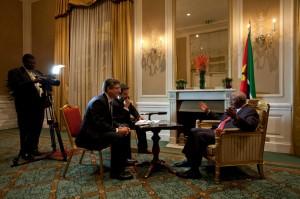 Foto di Carlo Christian Spano/ un momento dell'intervista di Africa e Affari con il Presidente del Mozambico Armando Guebuza